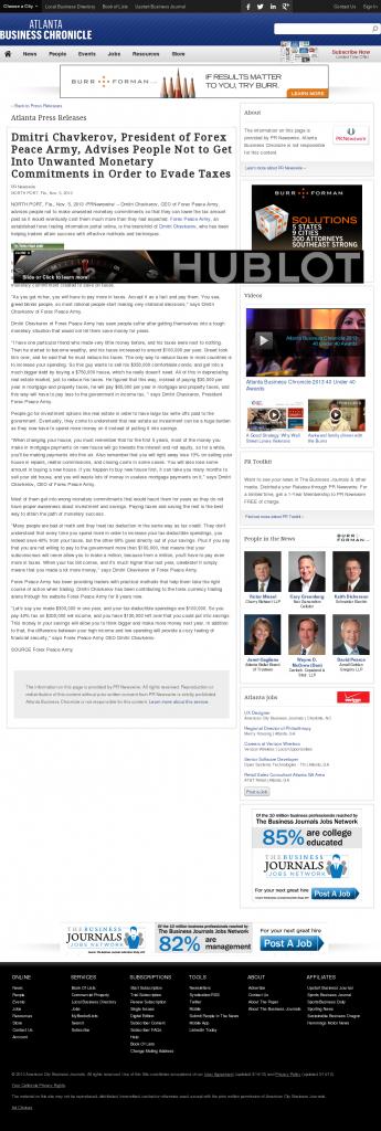 Dmitri Chavkerov - Atlanta Business Chronicle- Paying Taxes and Saving