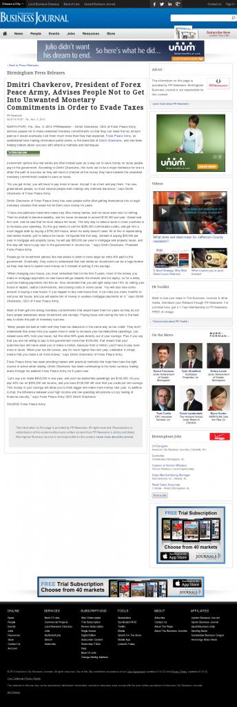 Dmitri Chavkerov - Birmingham Business Journal- Paying Taxes and Saving