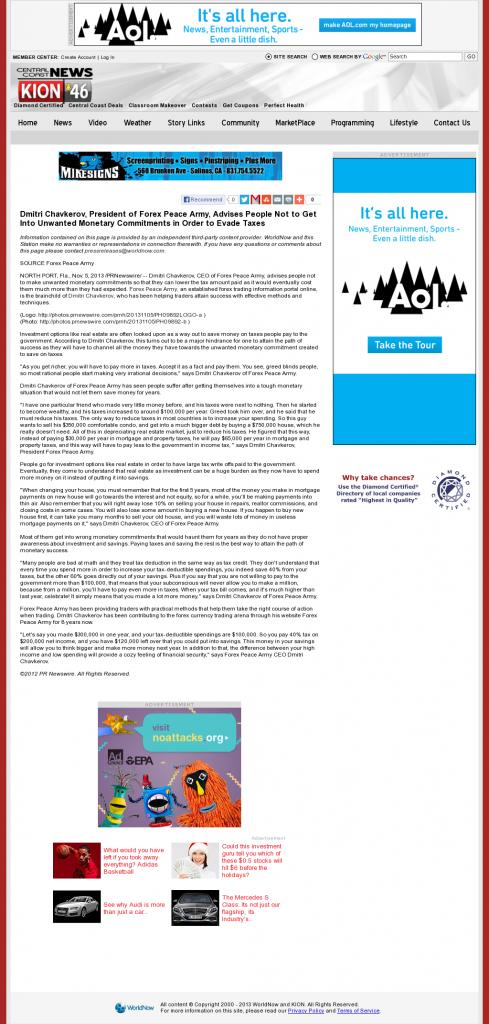 Dmitri Chavkerov - KION CBS-46 (Salinas, CA)- Paying Taxes and Saving