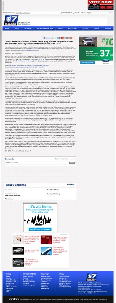Dmitri Chavkerov - KOAM-TV CBS-7 (Pittsburg, KS)- Paying Taxes and Saving