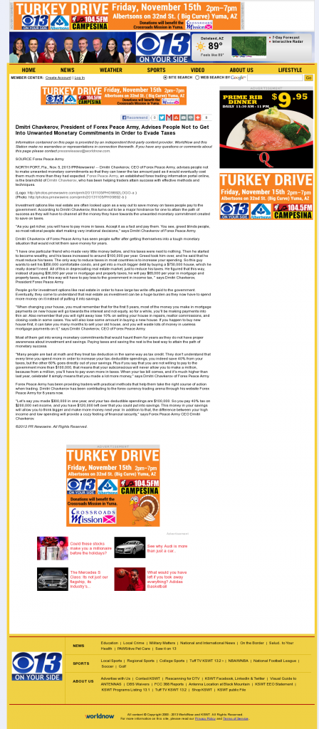 Dmitri Chavkerov - KSWT-TV CBS-13 (Yuma, AZ)- Paying Taxes and Saving