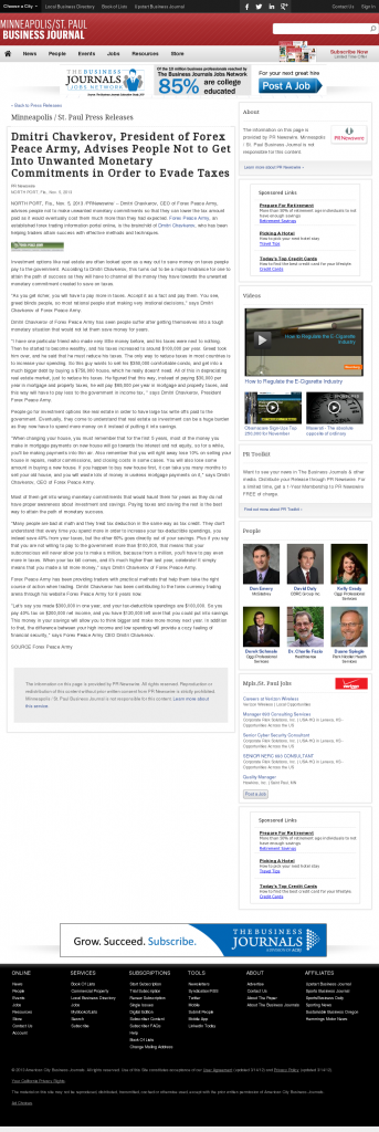 Dmitri Chavkerov - Minneapolis / St. Paul Business Journal- Paying Taxes and Saving