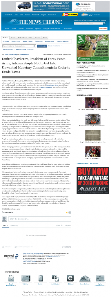 Dmitri Chavkerov - News Tribune (Tacoma, WA)- Paying Taxes and Saving