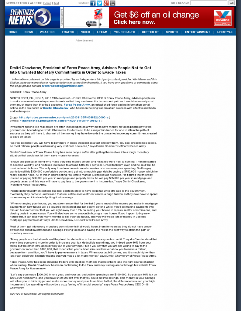 Dmitri Chavkerov - WFSB-TV CBS-3 (Hartford, CT)- Paying Taxes and Saving