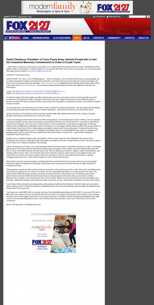 Dmitri Chavkerov - WFXR-TV FOX-21/27 (Roanoke, VA)- Paying Taxes and Saving