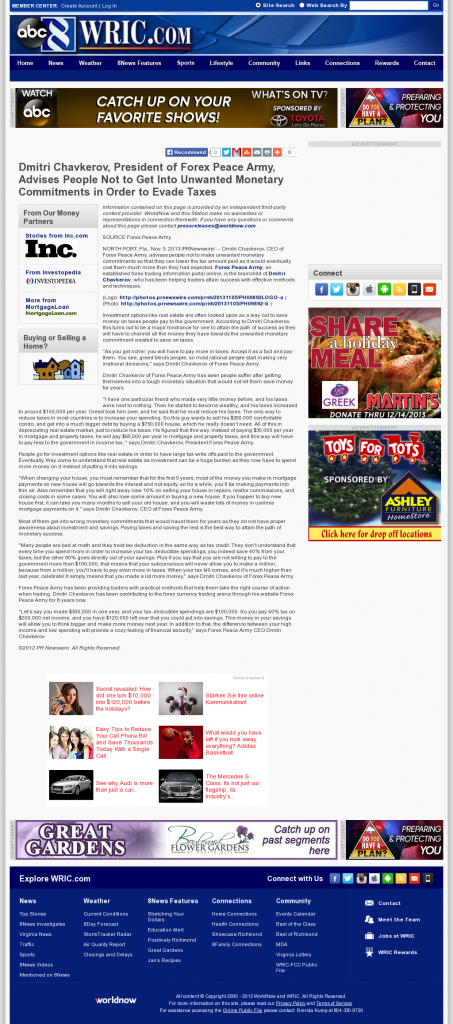 Dmitri Chavkerov - WRIC ABC-8 (Richmond, VA)- Paying Taxes and Saving