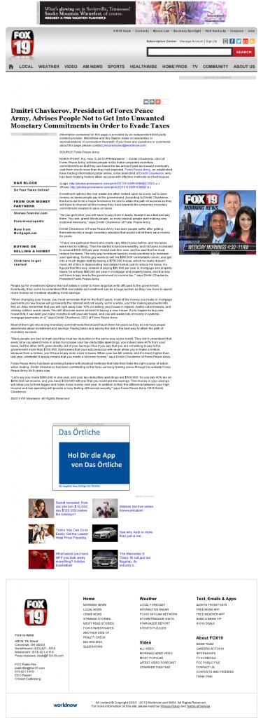 Dmitri Chavkerov - WXIX FOX-19 (Cincinnati, OH)- Paying Taxes and Saving