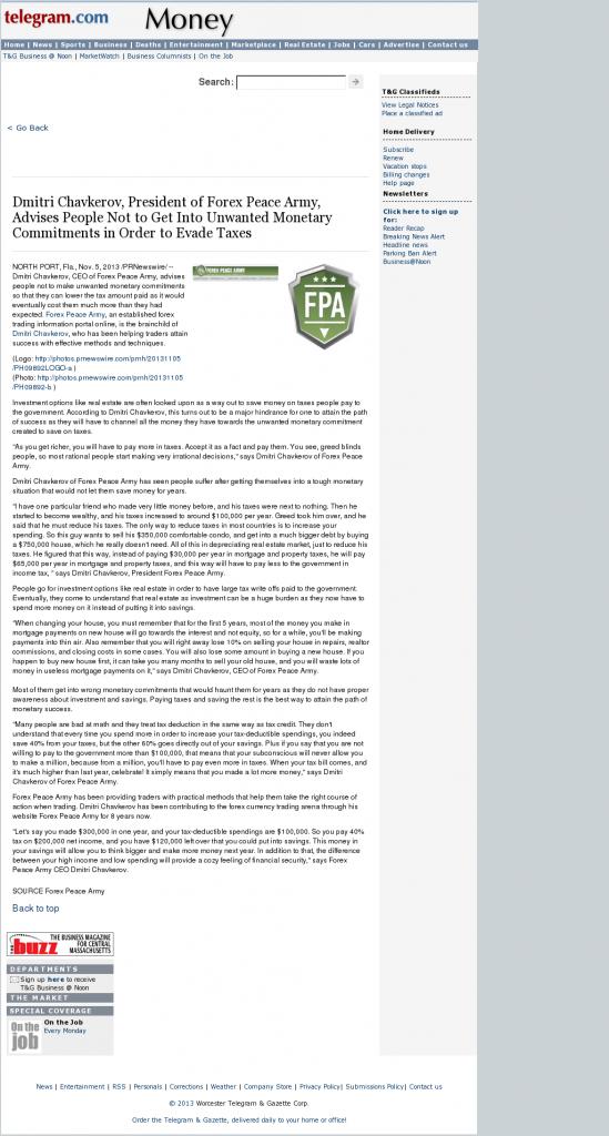 Dmitri Chavkerov - Worcester Telegram & Gazette- Paying Taxes and Saving