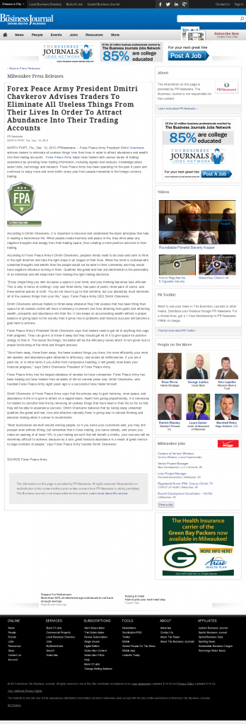 Forex Peace Army - Business Journal of Greater Milwaukee- Attracting Wealth