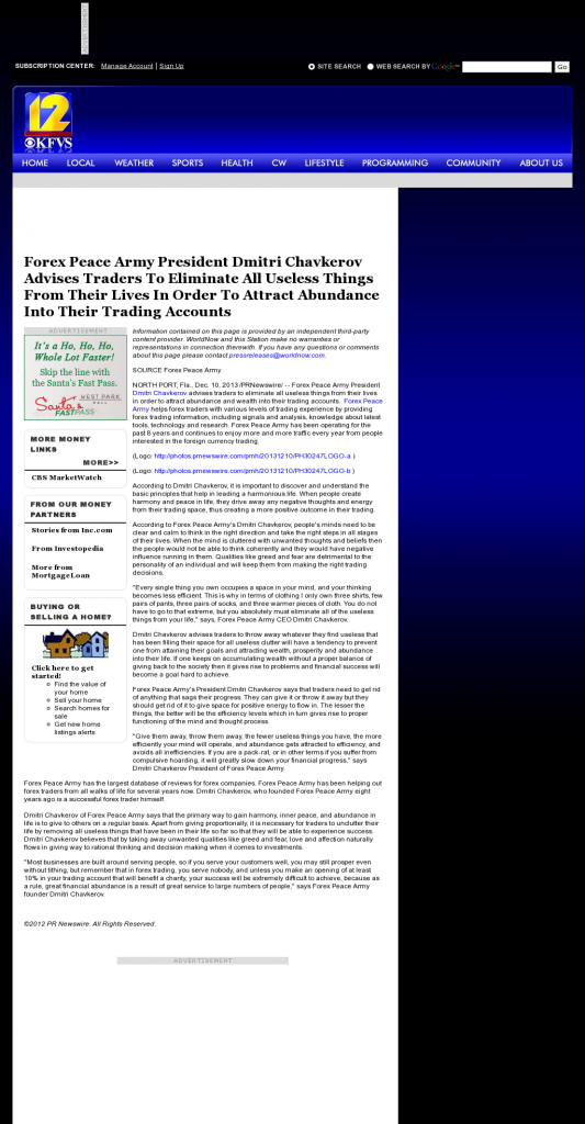 Forex Peace Army - KFVS CBS-12 (Cape Girardeau, MO)- Attracting Wealth
