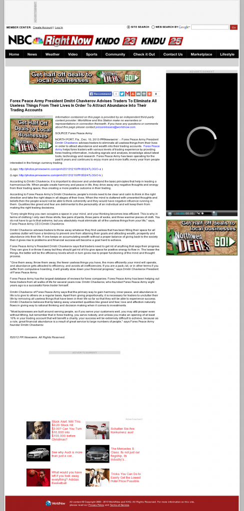 Forex Peace Army - KNDO-TV NBC-3 (Yakima, WA)- Attracting Wealth