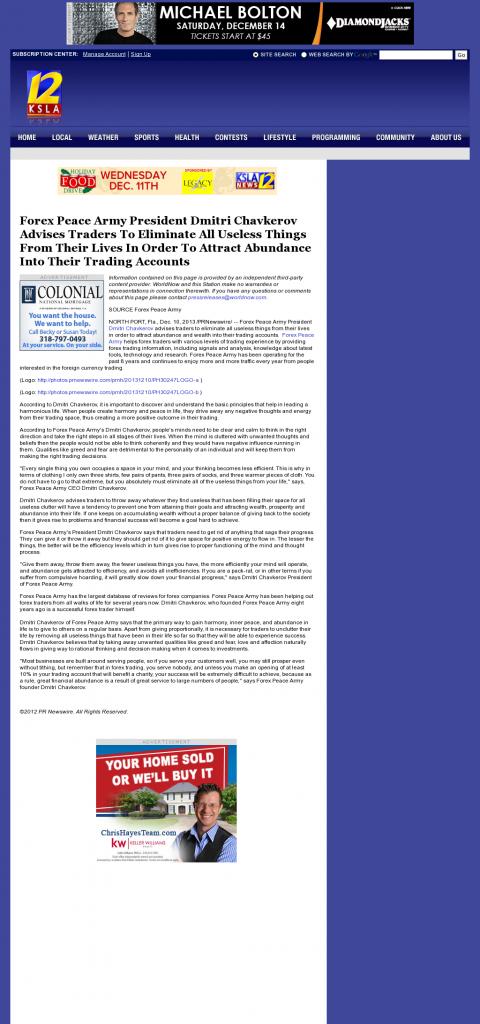 Forex Peace Army - KSLA CBS-12 (Shreveport, LA)- Attracting Wealth