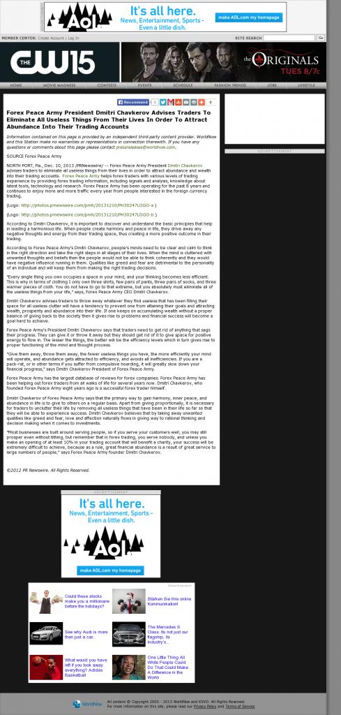 Forex Peace Army - KXVO-TV CW-15 (Omaha, NE)- Attracting Wealth