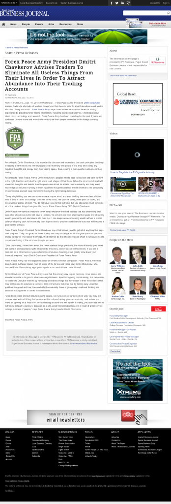 Forex Peace Army - Puget Sound Business Journal- Attracting Wealth