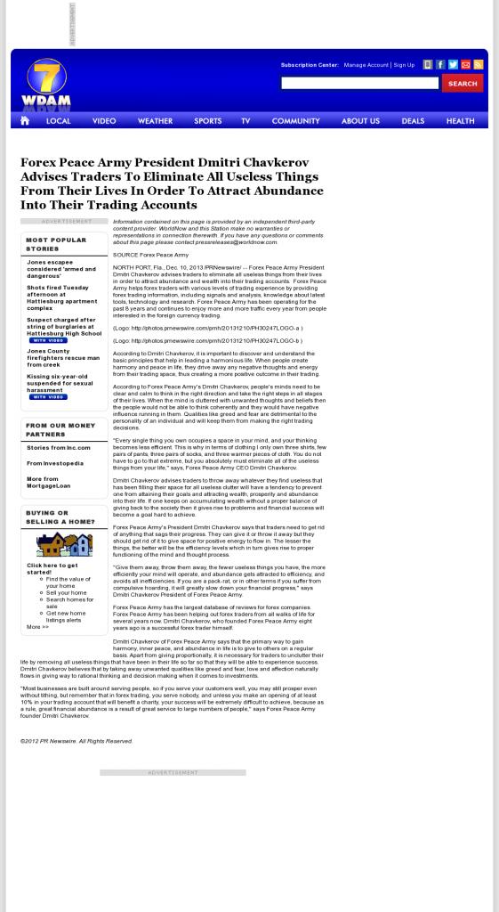 Forex Peace Army - WDAM NBC-7 (Hattiesburg-Laurel, MS)- Attracting Wealth