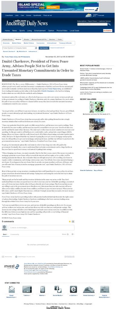 Dmitri Chavkerov - Anchorage Daily News- Paying Taxes and Saving