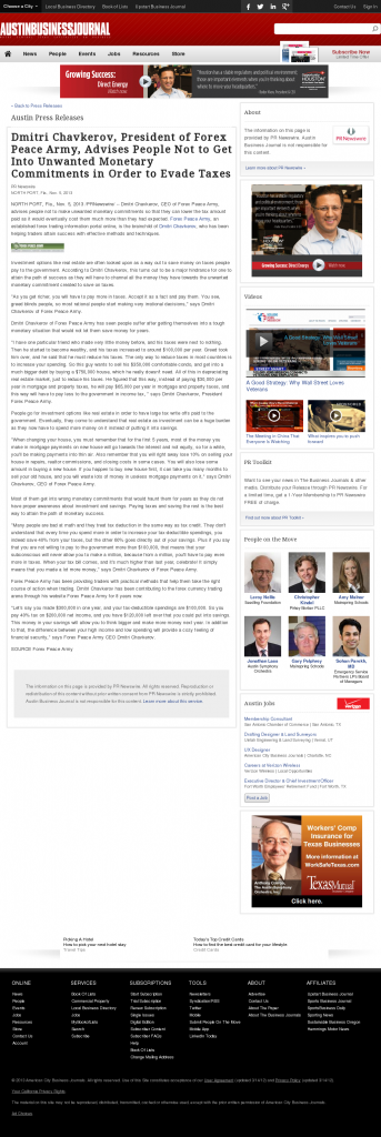 Dmitri Chavkerov - Austin Business Journal- Paying Taxes and Saving