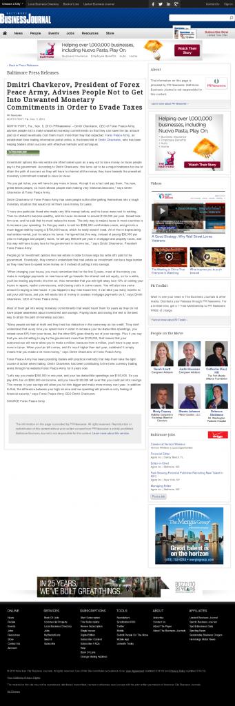 Dmitri Chavkerov - Baltimore Business Journal- Paying Taxes and Saving