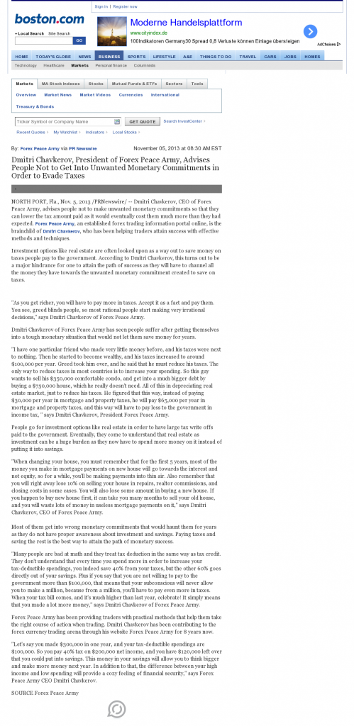 Dmitri Chavkerov - Boston Globe- Paying Taxes and Saving