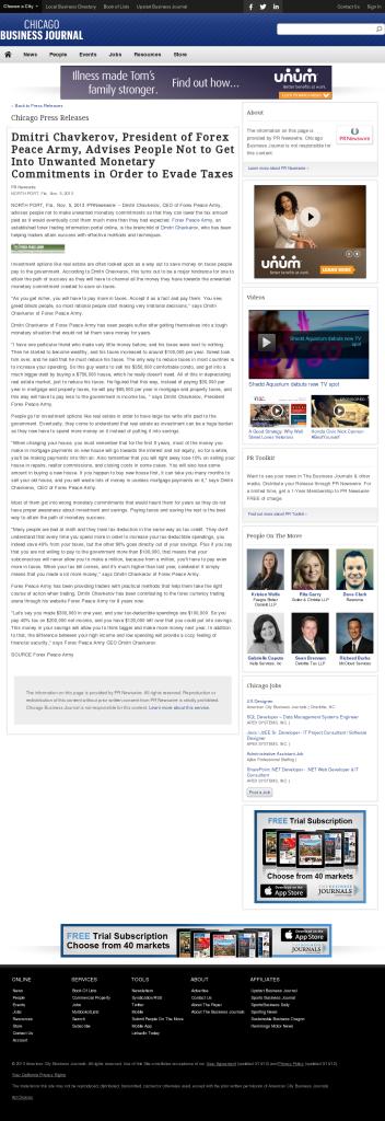 Dmitri Chavkerov - Chicago Business News- Paying Taxes and Saving