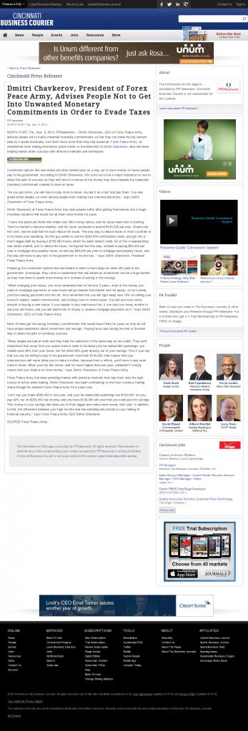 Dmitri Chavkerov - Cincinnati Business Courier- Paying Taxes and Saving