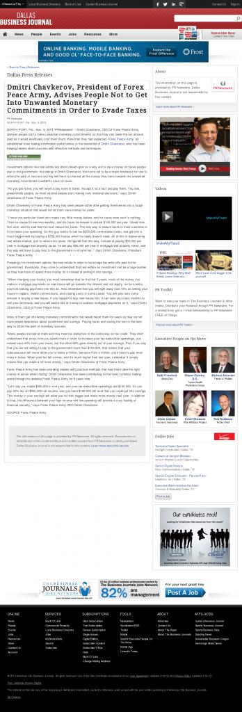 Dmitri Chavkerov - Dallas Business Journal- Paying Taxes and Saving