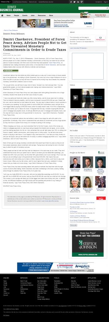 Dmitri Chavkerov - Denver Business Journal- Paying Taxes and Saving