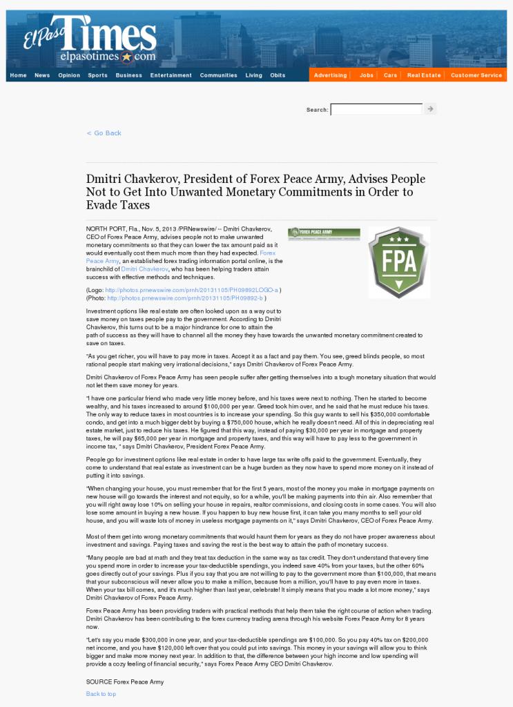 Dmitri Chavkerov - El Paso Times- Paying Taxes and Saving