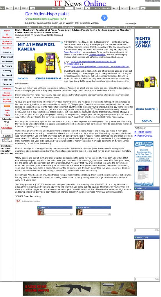 Dmitri Chavkerov - IT News Online- Paying Taxes and Saving
