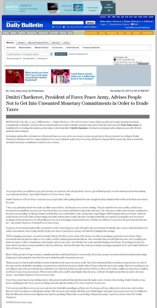 Dmitri Chavkerov - Inland Valley Daily Bulletin (Ontario, CA)- Paying Taxes and Saving