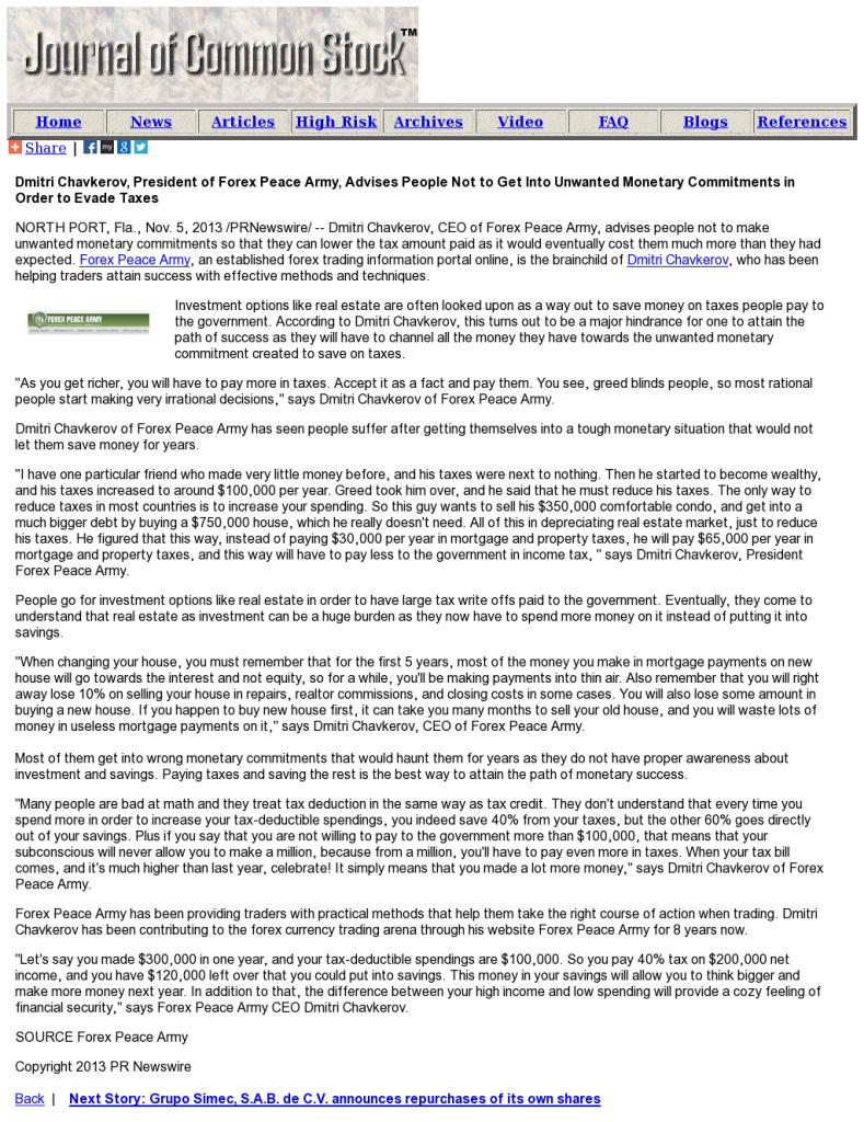 Dmitri Chavkerov - Journal of Common Stock- Paying Taxes and Saving