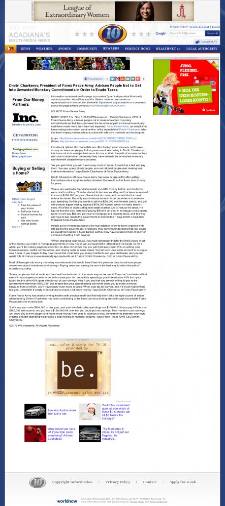 Dmitri Chavkerov - KLFY CBS-10 (Lafayette, LA)- Paying Taxes and Saving