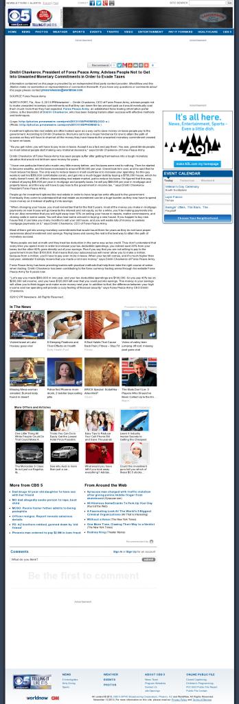 Dmitri Chavkerov - KPHO-TV CBS-5 (Phoenix, AZ)- Paying Taxes and Saving