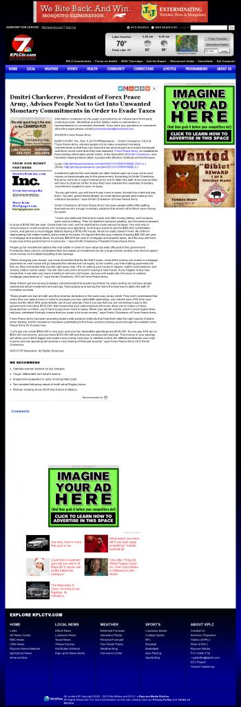 Dmitri Chavkerov - KPLC NBC-7 (Lake Charles-Lafayette, LA)- Paying Taxes and Saving