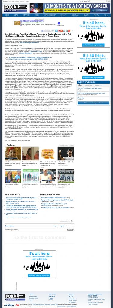 Dmitri Chavkerov - KPTV-TV FOX-12 (Beaverton, OR)- Paying Taxes and Saving