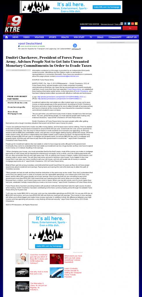 Dmitri Chavkerov - KTRE ABC-9 (Lufkin, TX)- Paying Taxes and Saving