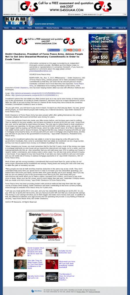 Dmitri Chavkerov - KUAM-TV NBC-8 / CBS-11 (Hagatna, Guam)- Paying Taxes and Saving