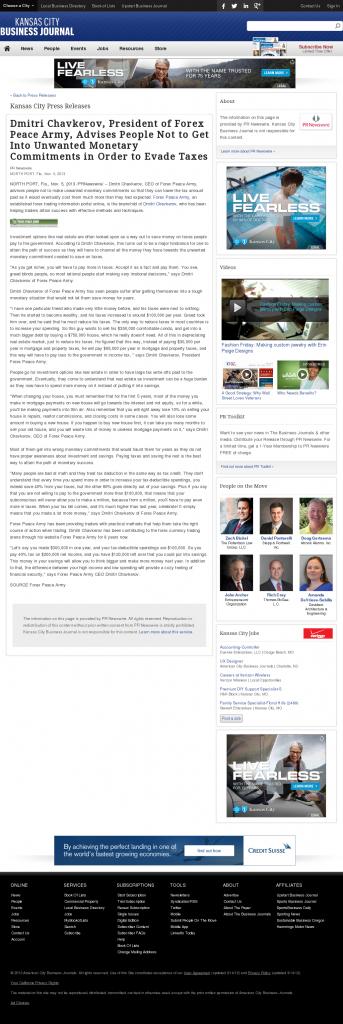 Dmitri Chavkerov - Kansas City Business Journal- Paying Taxes and Saving