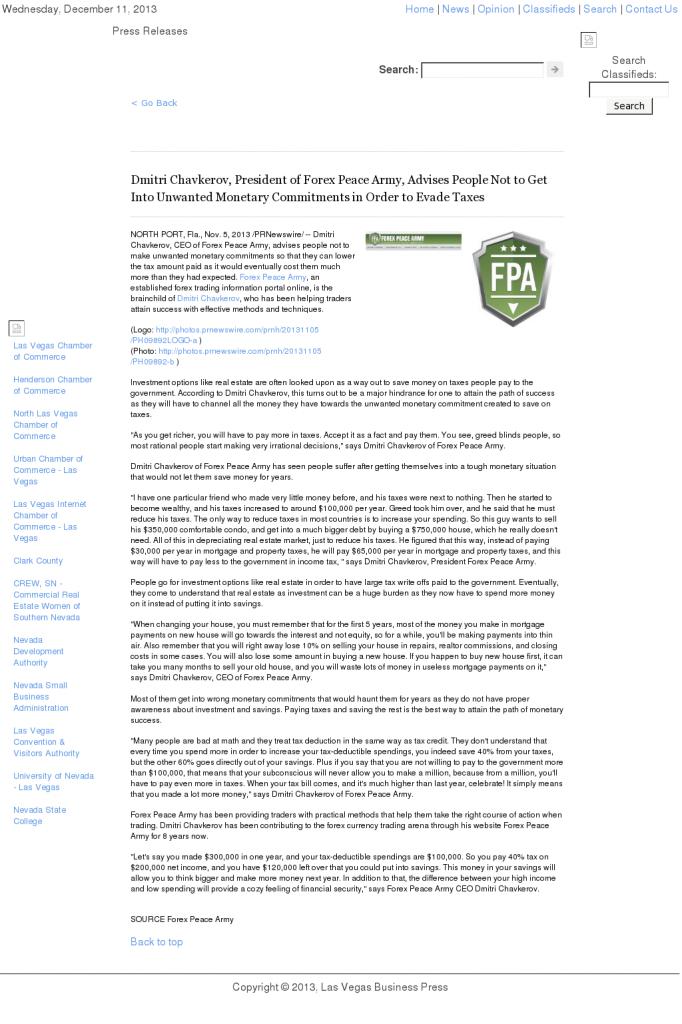 Dmitri Chavkerov - Las Vegas Business Press- Paying Taxes and Saving