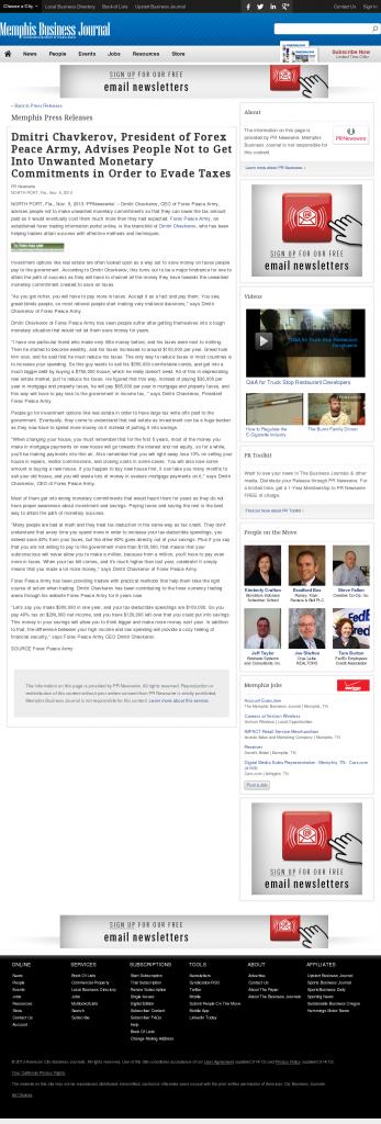 Dmitri Chavkerov - Memphis Business Journal- Paying Taxes and Saving