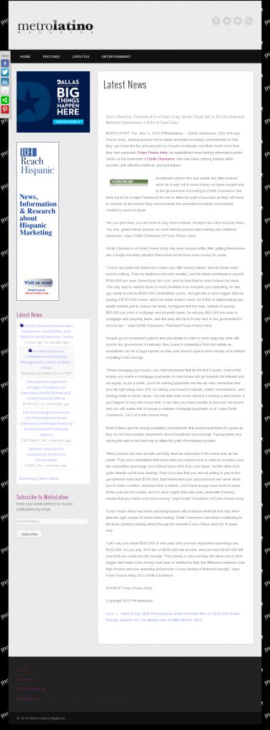 Dmitri Chavkerov - Metro Latino Magazine- Paying Taxes and Saving