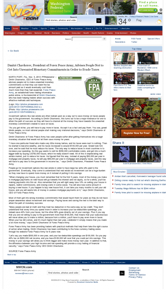 Dmitri Chavkerov - NorthWest Cable News (Seattle, WA)- Paying Taxes and Saving