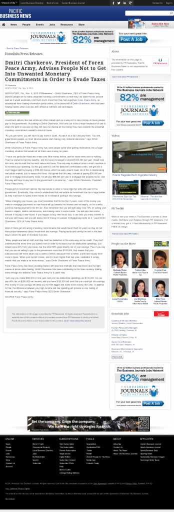 Dmitri Chavkerov - Pacific Business News- Paying Taxes and Saving