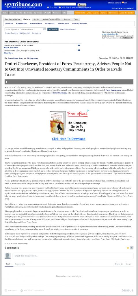 Dmitri Chavkerov - San Gabriel Valley Tribune- Paying Taxes and Saving