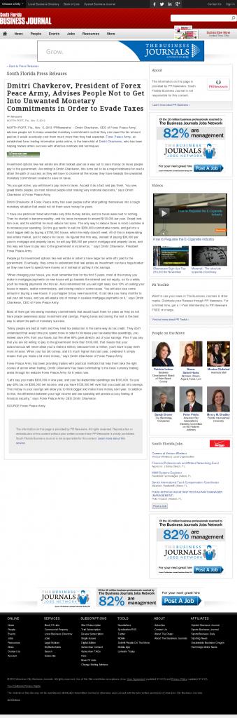 Dmitri Chavkerov - South Florida Business Journal- Paying Taxes and Saving