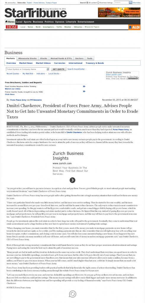 Dmitri Chavkerov - Star Tribune (Minneapolis, MN)- Paying Taxes and Saving