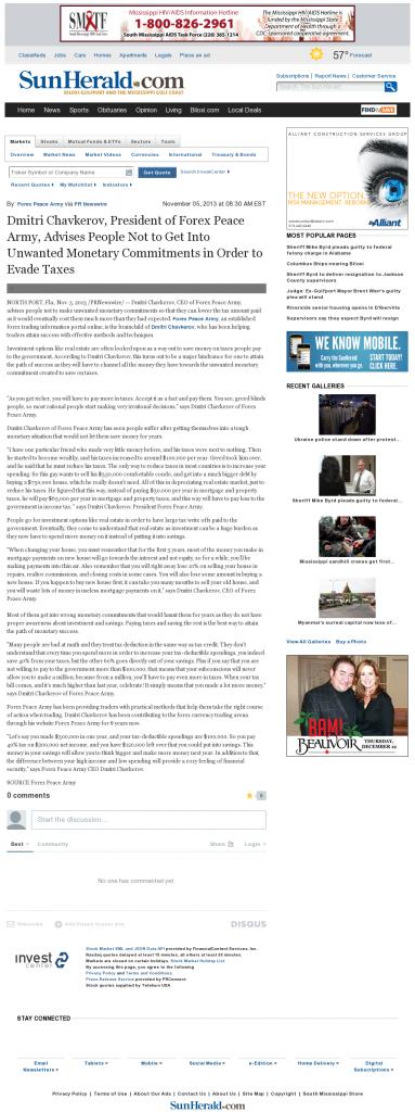 Dmitri Chavkerov - Sun Herald (Biloxi, MS)- Paying Taxes and Saving