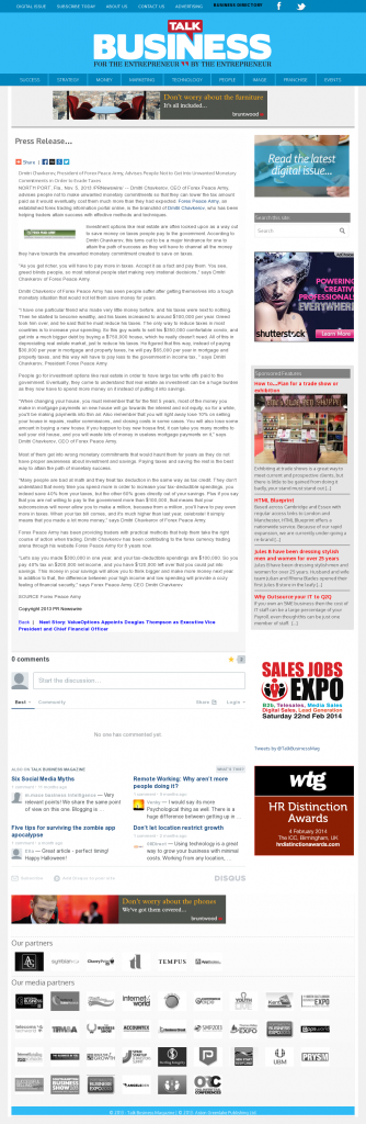 Dmitri Chavkerov - Talk Business Magazine- Paying Taxes and Saving