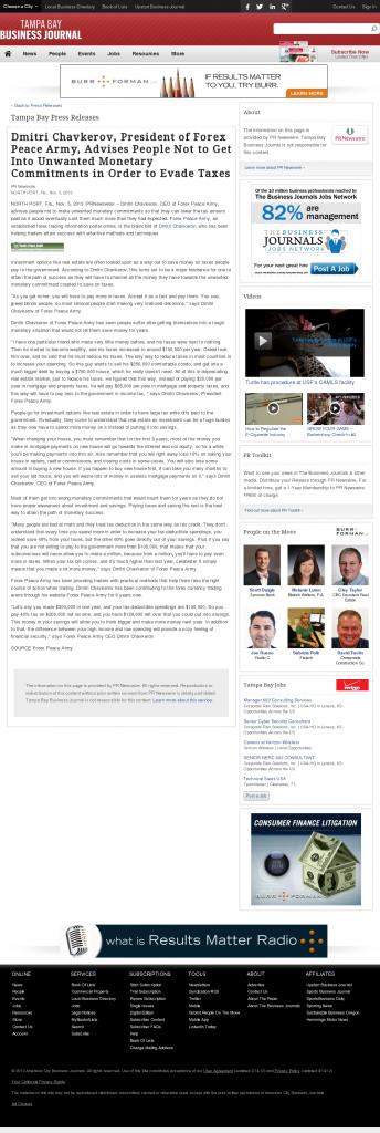Dmitri Chavkerov - Tampa Bay Business Journal- Paying Taxes and Saving