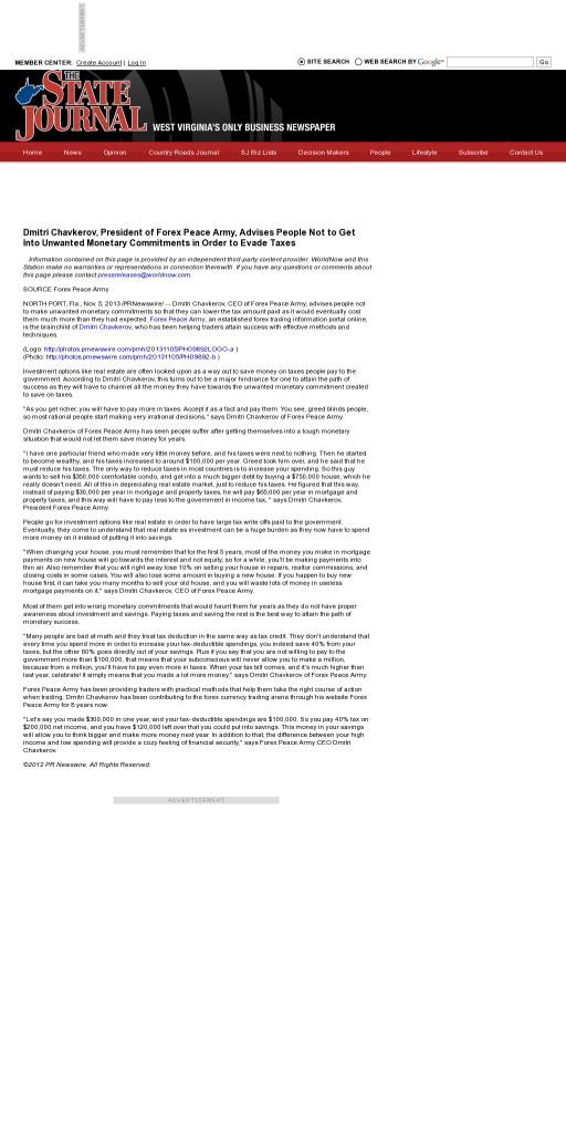 Dmitri Chavkerov - The State Journal (Charleston, WV)- Paying Taxes and Saving